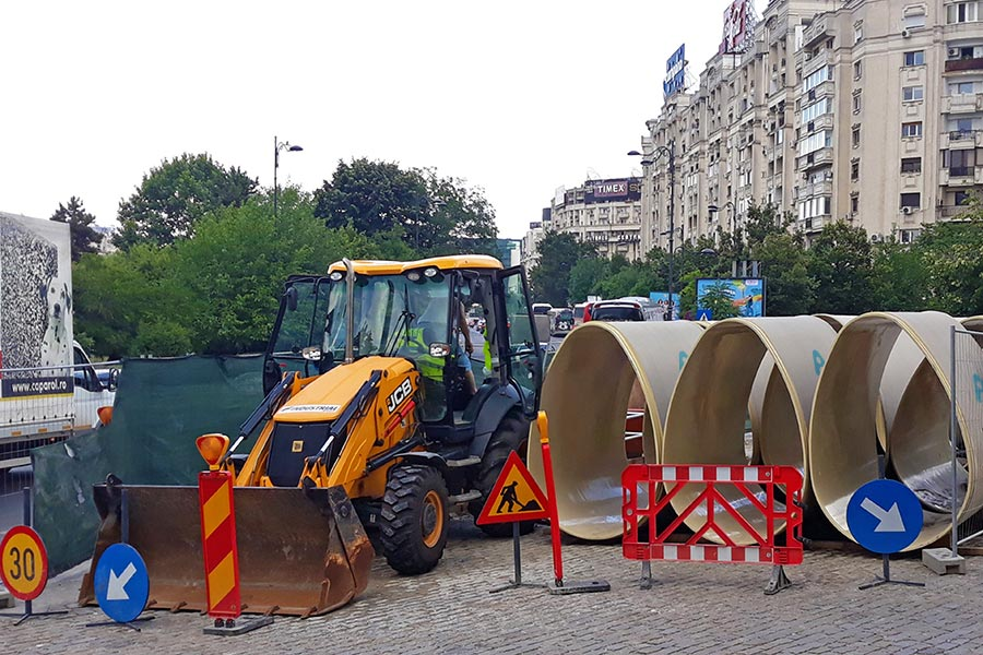 Amiblu NC Line pipes at the construction site in Bucharest's city center