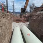 Flowtite pipes DN 1000 transport the brine to the sea, Ensenada desalination plant, Mexico