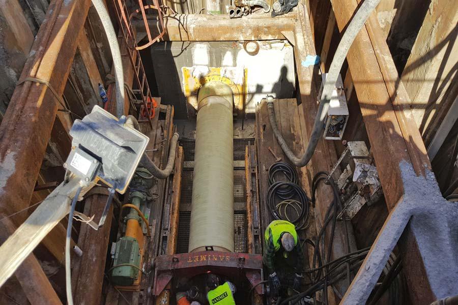 Flowtite pressure pipe jacking Junikowski sewer Poland