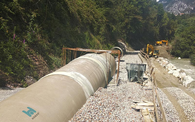 Hobas hydropower pipeline in Angolo Terme in Italy