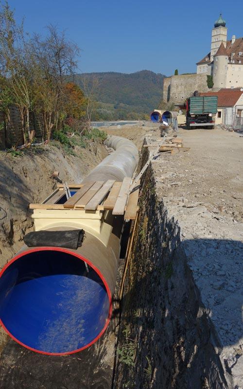 Hobas PU-Leitungsrohre in der Nähe des Schlosses Schönbühel