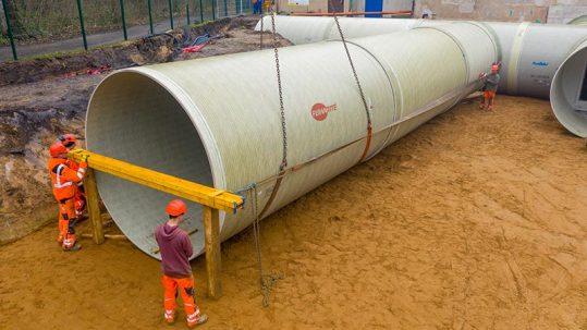 Installation of Amiblu potable water tank in Luetzen, Germany