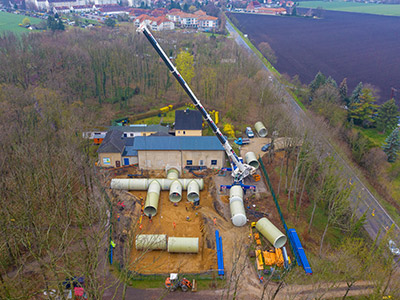 aerial view of Amiblu potable water tank installation in Luetzen, Germany