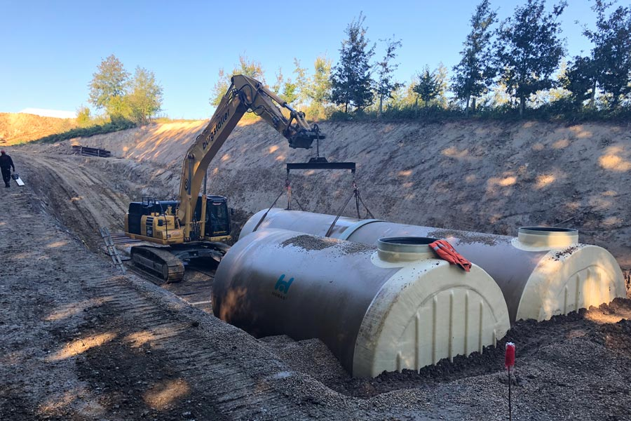 XL Hobas GRP storage tank DN 3000 installed in Austria